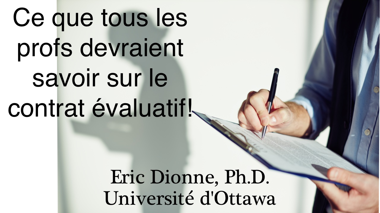 ProfDionne - Contrat d'évaluation